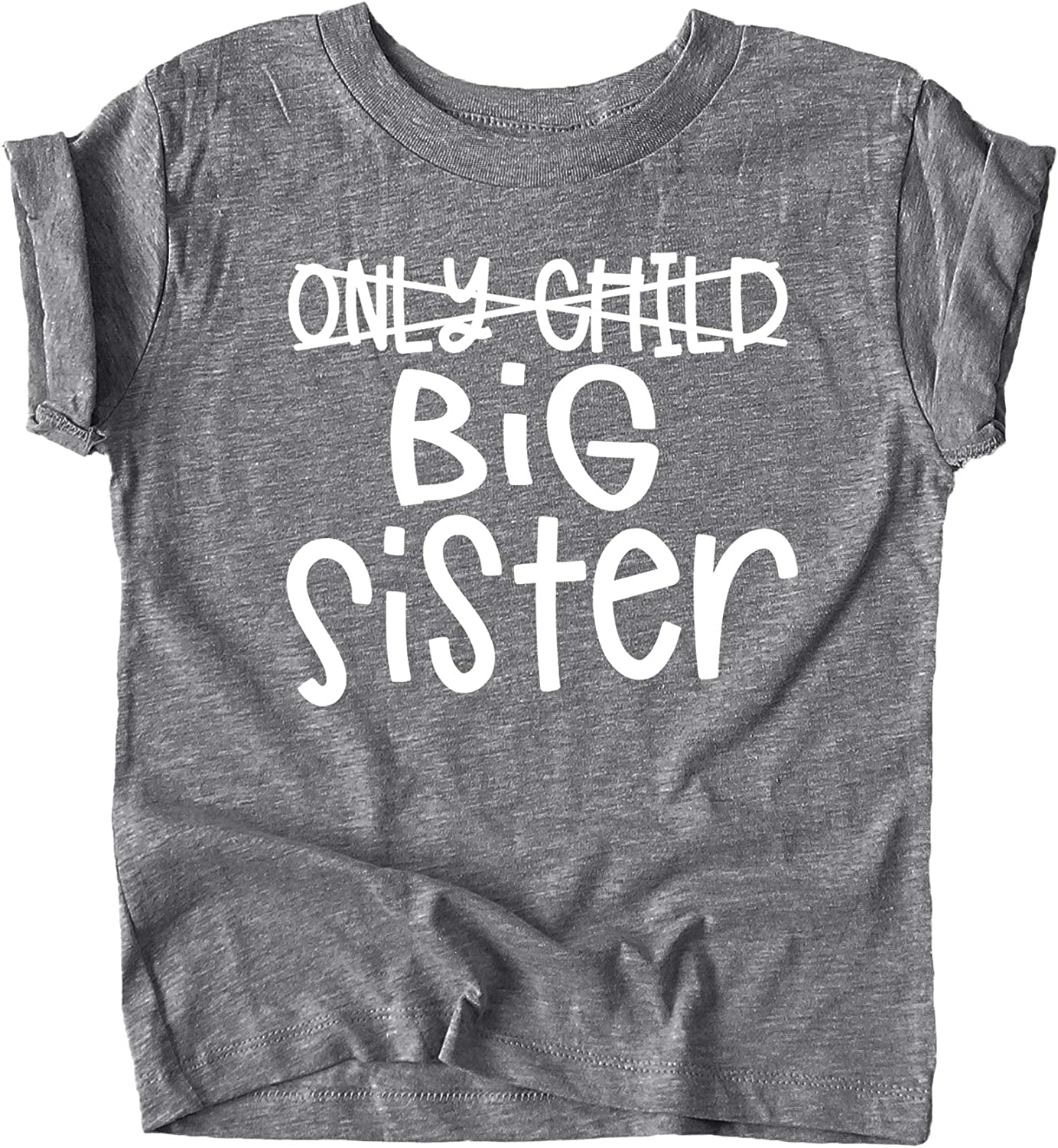 Olive Loves Apple Big Sister Heart Sibling Reveal T-Shirt for Baby and Toddler Girls Sibling Outfits