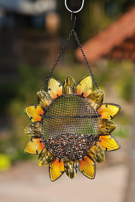 """12.5/""""W x 3 D x 17 H Evergreen Garden Sunflower Metal and Glass Hanging Mesh Bird Feeder"""