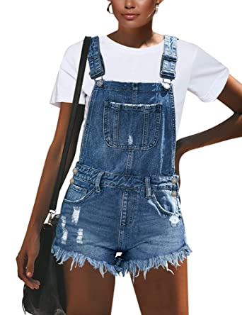 3740afc0e LookbookStore Women's Ripped Denim Pockets Overall Shorts Raw Hem Distressed  Shortall Jeans Romper Blue Size Small