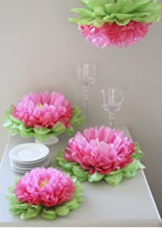girls party decorations set of 7 mixed pink tissue paper flowers - Tissue Paper Decorations