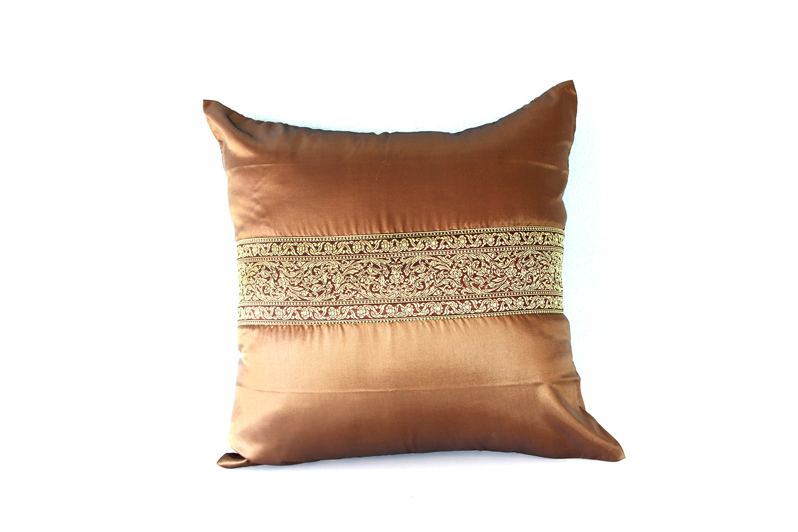 Lotus House Brown Silk Pillowcase - Asian Collection (1, Brown)