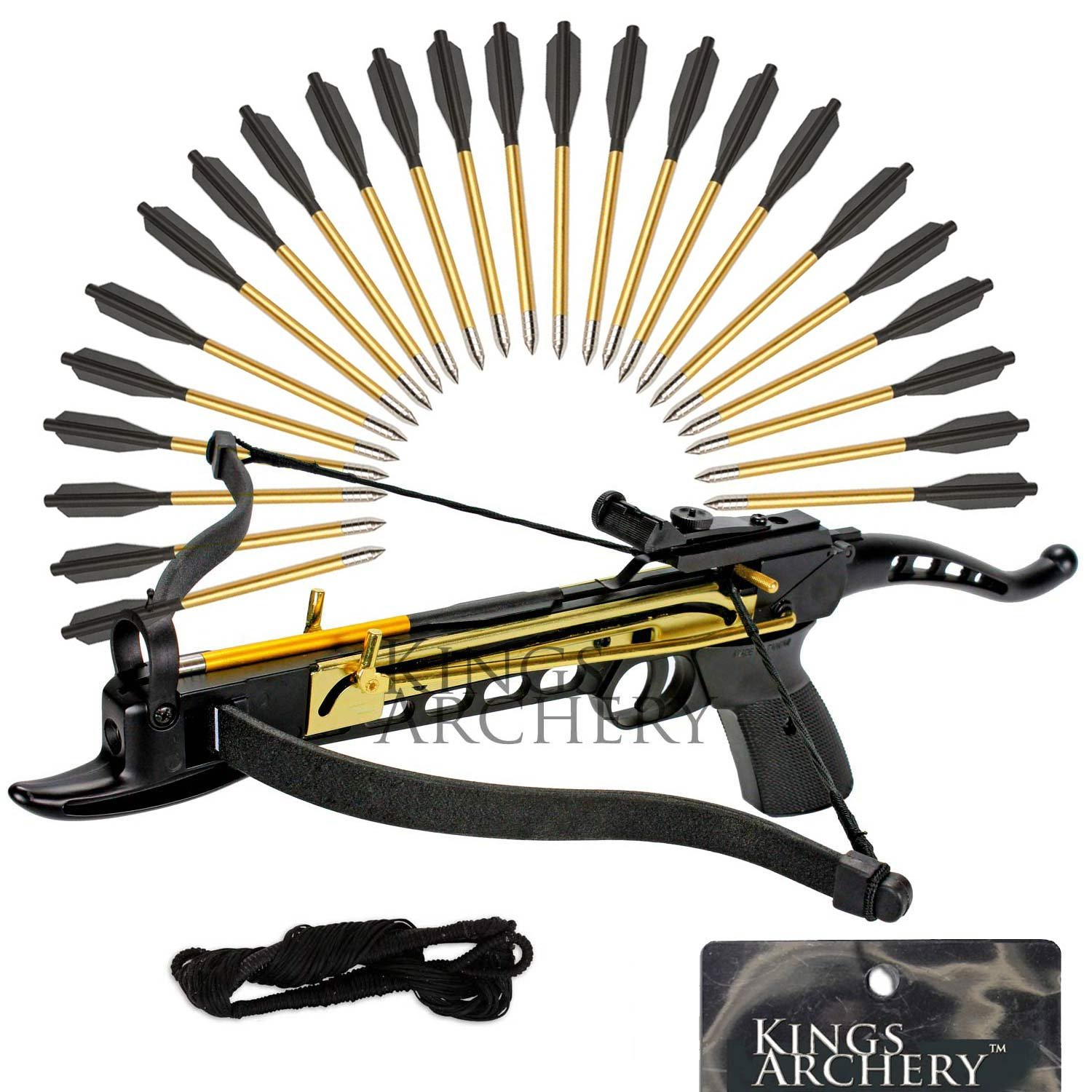 KingsArchery Self-Cocking Crossbow Bundle with Adjustable Sights, Spare Crossbow String and Caps, 27 Aluminim Arrow Bolt Set