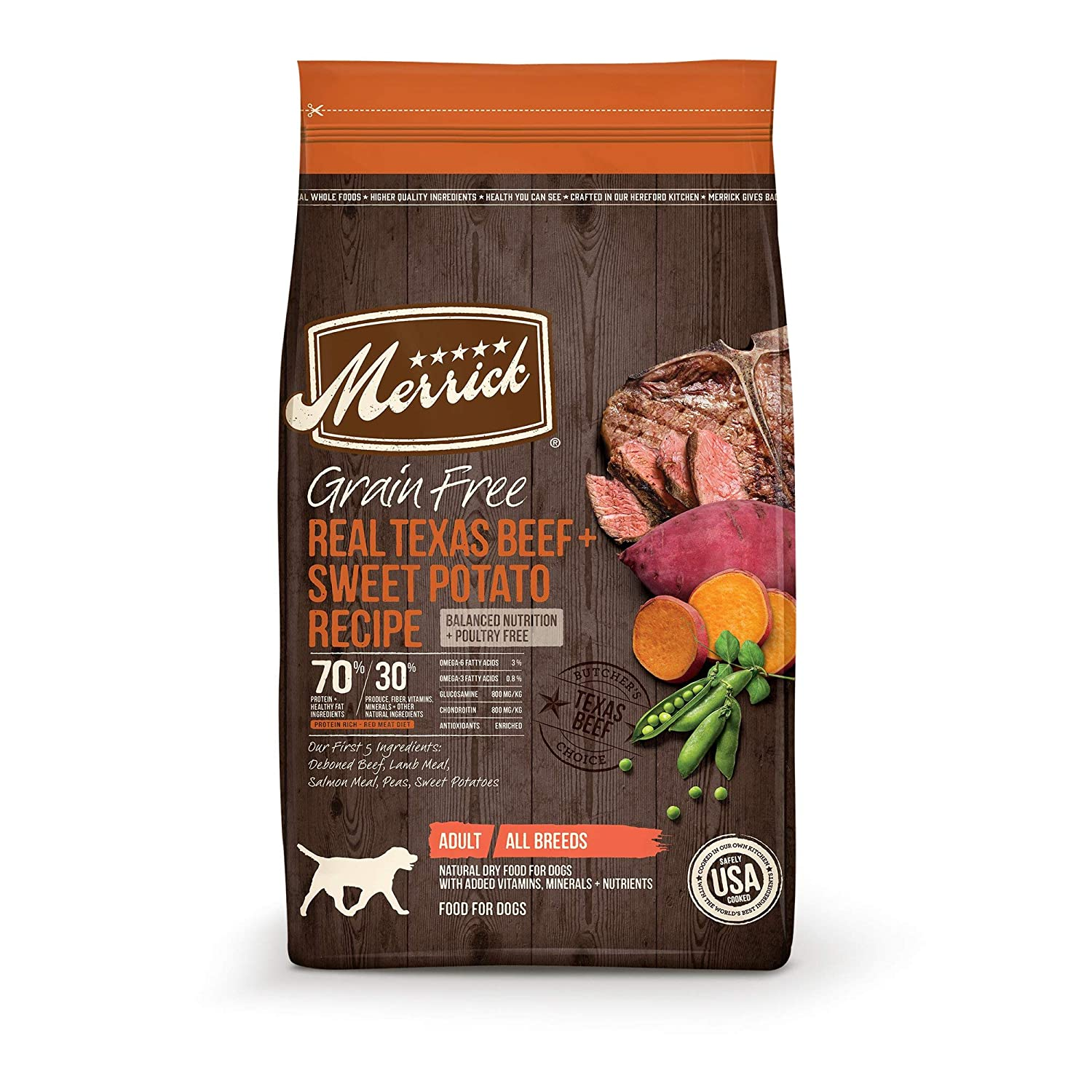 1.Merrick Grain-Free Texas Beef & Sweet Potato Recipe Dry Dog Food