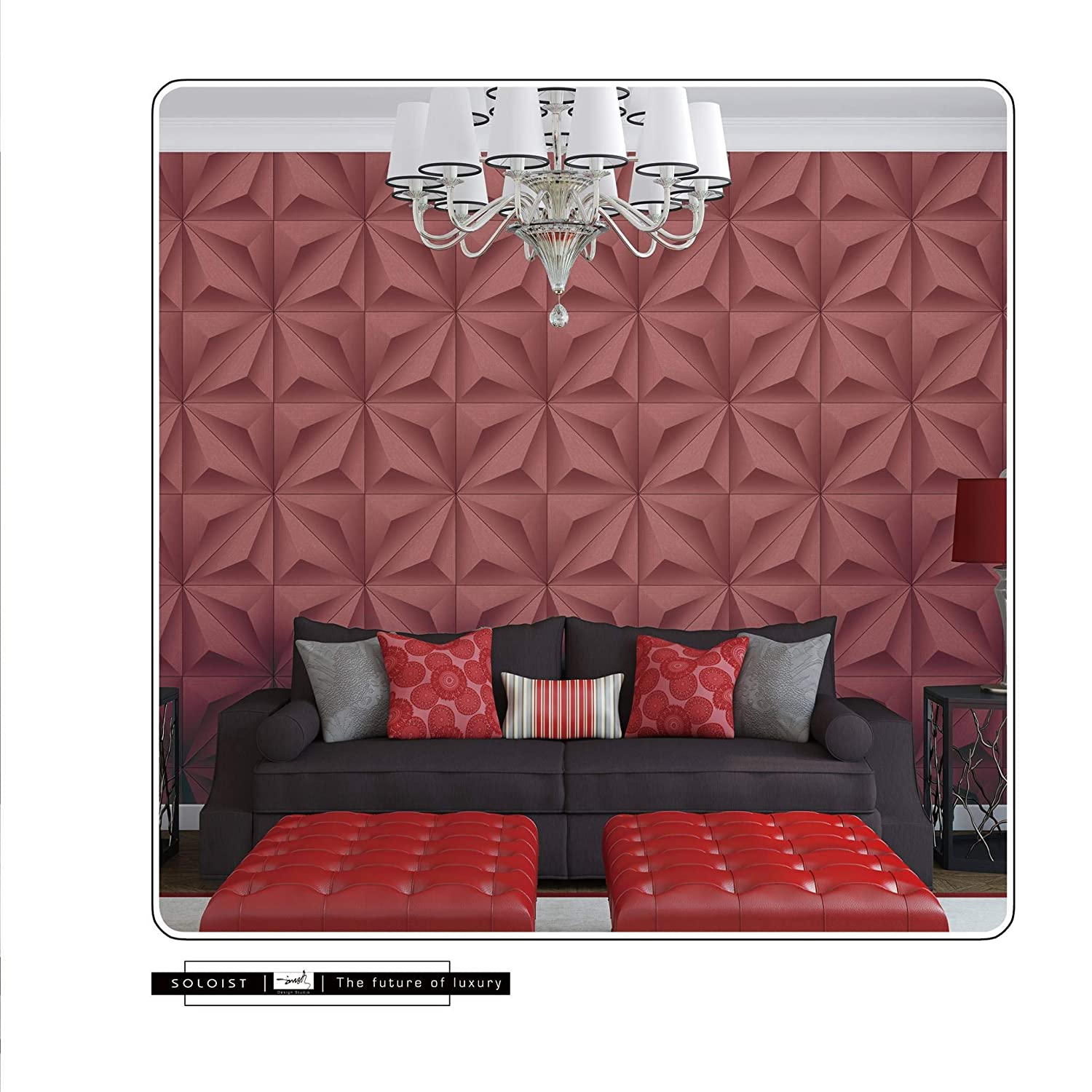 Eurotex 3d Modern Design Wallpaper For Covering Living Room Bedroom Walls Red Pvc Size 0 53x10meter Roll 57 Sq Ft Red Color 3225 Amazon In Home Improvement