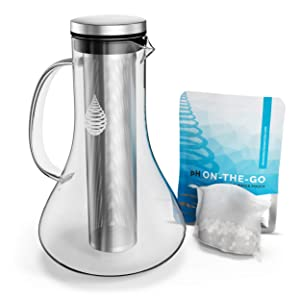 pH REPLENISH Glass Alkaline Water Pitcher - Alkaline Water Filter Pitcher by Invigorated Water - High pH Ionized Filtered Water Purifier - Includes Long Life Filter, New 2019 Model, 61oz (1800ml)