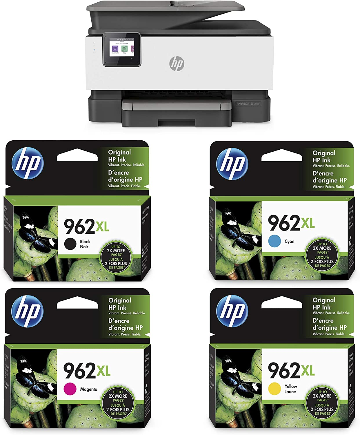 HP OfficeJet Pro 9015 All-in-One Wireless Printer (1KR42A) with XL Ink-Cartridges - 4 Colors