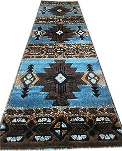 Concord Global Trading Southwest Native American Runner Area Rug Blue & Brown Design C318 (2 Feet X 7 Feet)