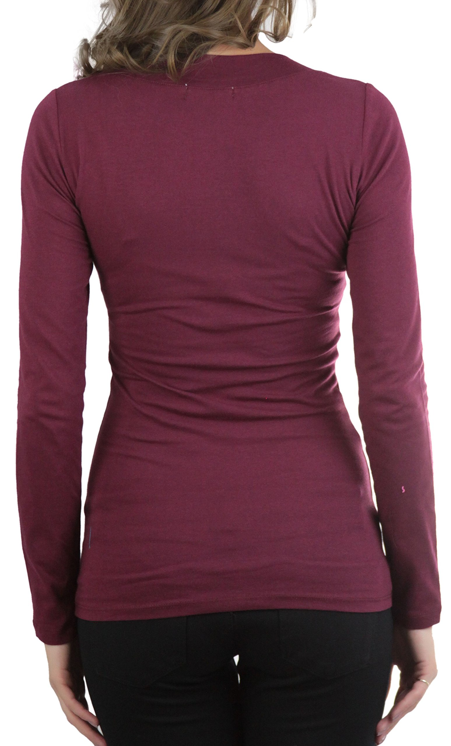 ToBeInStyle Burgundy Women's Long Sleeve V-Neck T-Shirt by ToBeInStyle (Image #3)