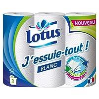 Lotus J'essuie-tout ! Essuie-tout Blanc - Lot de 4 paquets de 3 rouleaux
