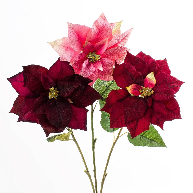 6 x Blumen Weihnachtsstern rot Kunstblumen Weihnachtsblumen Dekoblumen