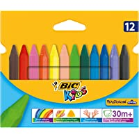 BIC Kids Triangular Colouring Crayons - Assorted Colours, Pack of 12