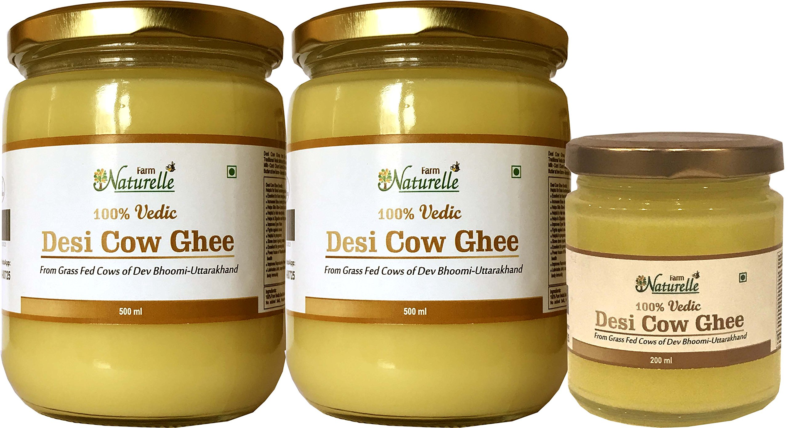 Farm Naturelle-(2 Glass Bottles X 500 Ml + 1 Glass Bottle X 200 Ml) 100% Pure Desi Cow Ghee From A2 Milk (1200 Ml) by Farm Naturelle (Farm Natural Produce) (Image #1)