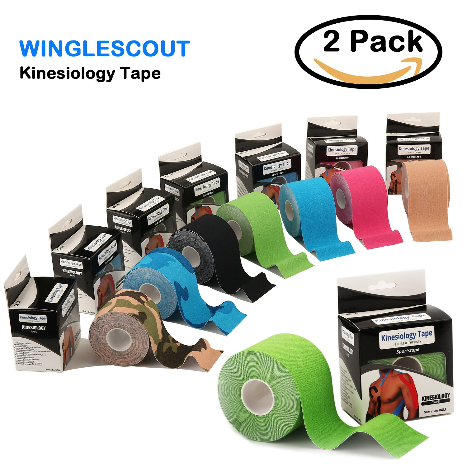 WINGLESCOUT 2-Pack Sport Kinesiology Tape, 5cm x 5m Roll Uncut, Waterproof Therapeutic Sports Tape, Breathable Muscle Support Adhesive (Green)