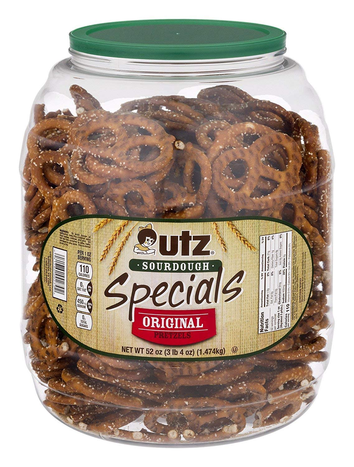Utz Sourdough Specials Pretzels – Classic Sourdough Pretzel Knot Twist, Perfectly Salted Crunchy Sourdough Pretzel with Zero Cholesterol per Serving, 52 oz. Barrel