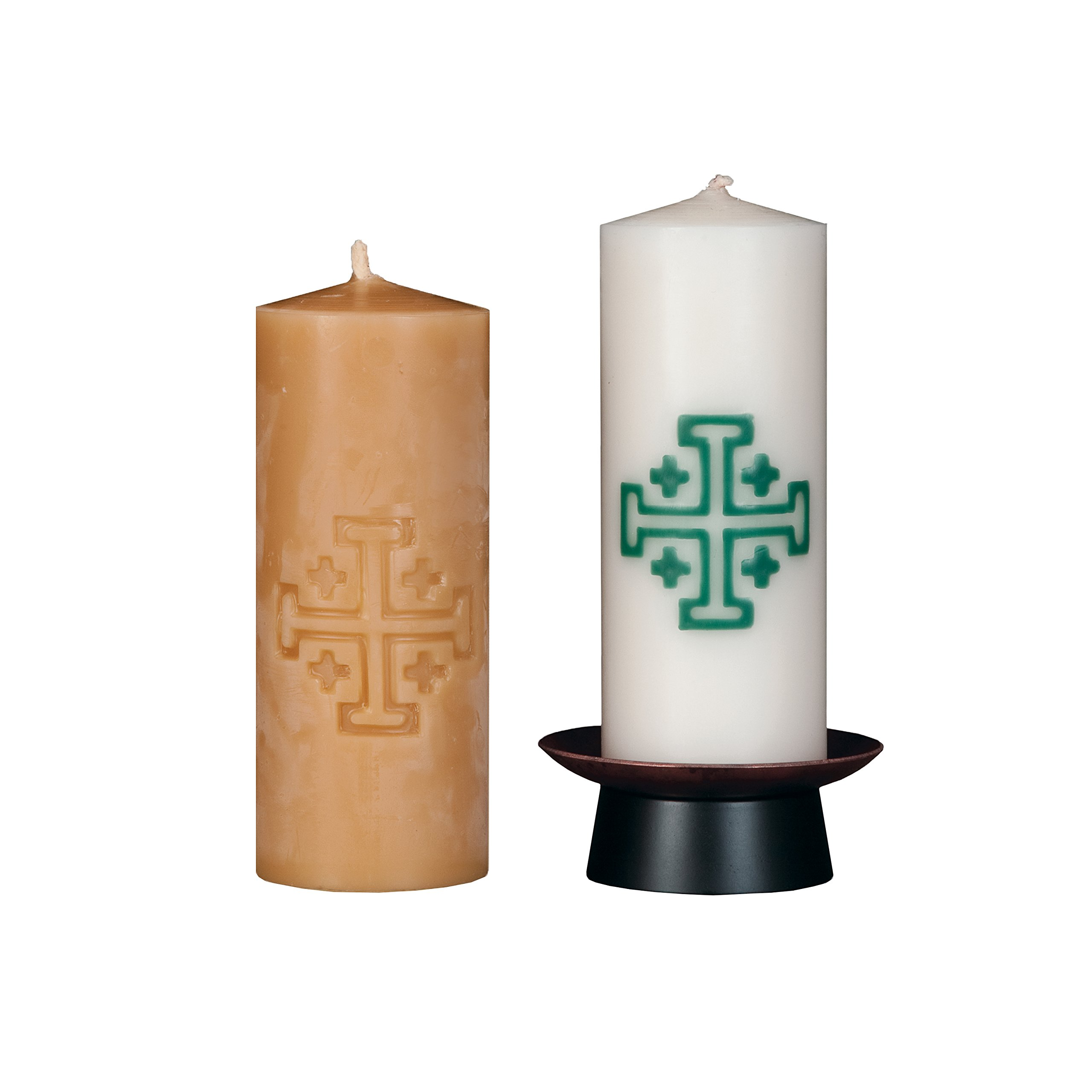 Beeswax Christos™ Candle Set; 2-1/2'' x 6'' candles with base; Jerusalem™ design in green. Handcrafted in New England. Made in America. by Marklin Candle