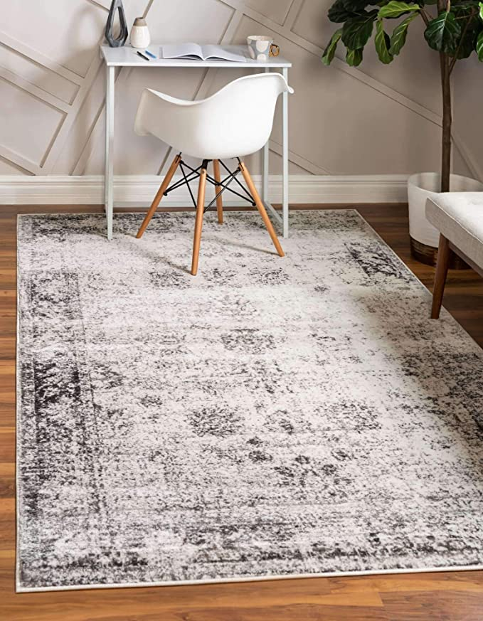 Unique Loom Sofia Collection Traditional Vintage Area Rug 8 X 10 Gray Ivory Furniture Decor