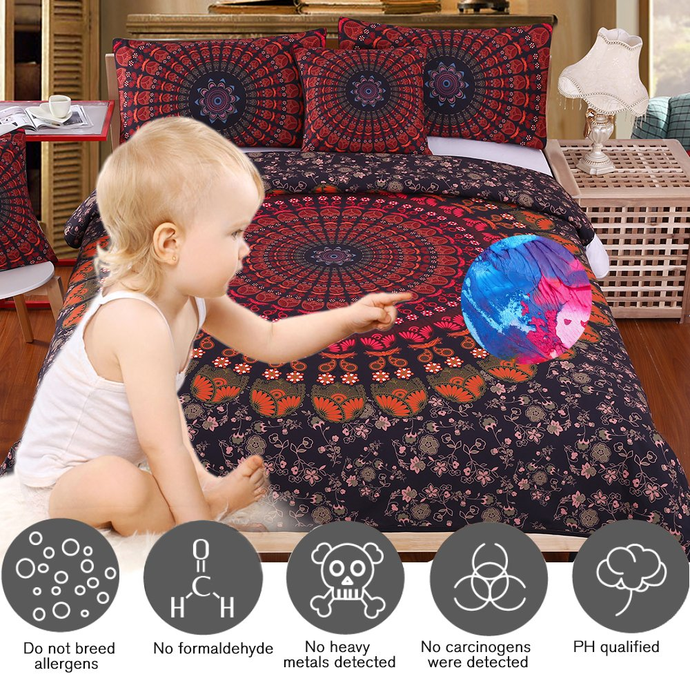 Bedding Sets Collections Sleepwish Bohemian Duvet Cover 4 Pieces Mandala Hippie Boho Bed Spreads Blue Bed Sets Twin Moonlight Bedding For Kids Boys Girls Home Kitchen Coxidev Com