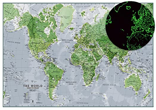 Glow in the dark map of the world map is illuminated at night glow in the dark map of the world map is illuminated at night childrens gumiabroncs Gallery
