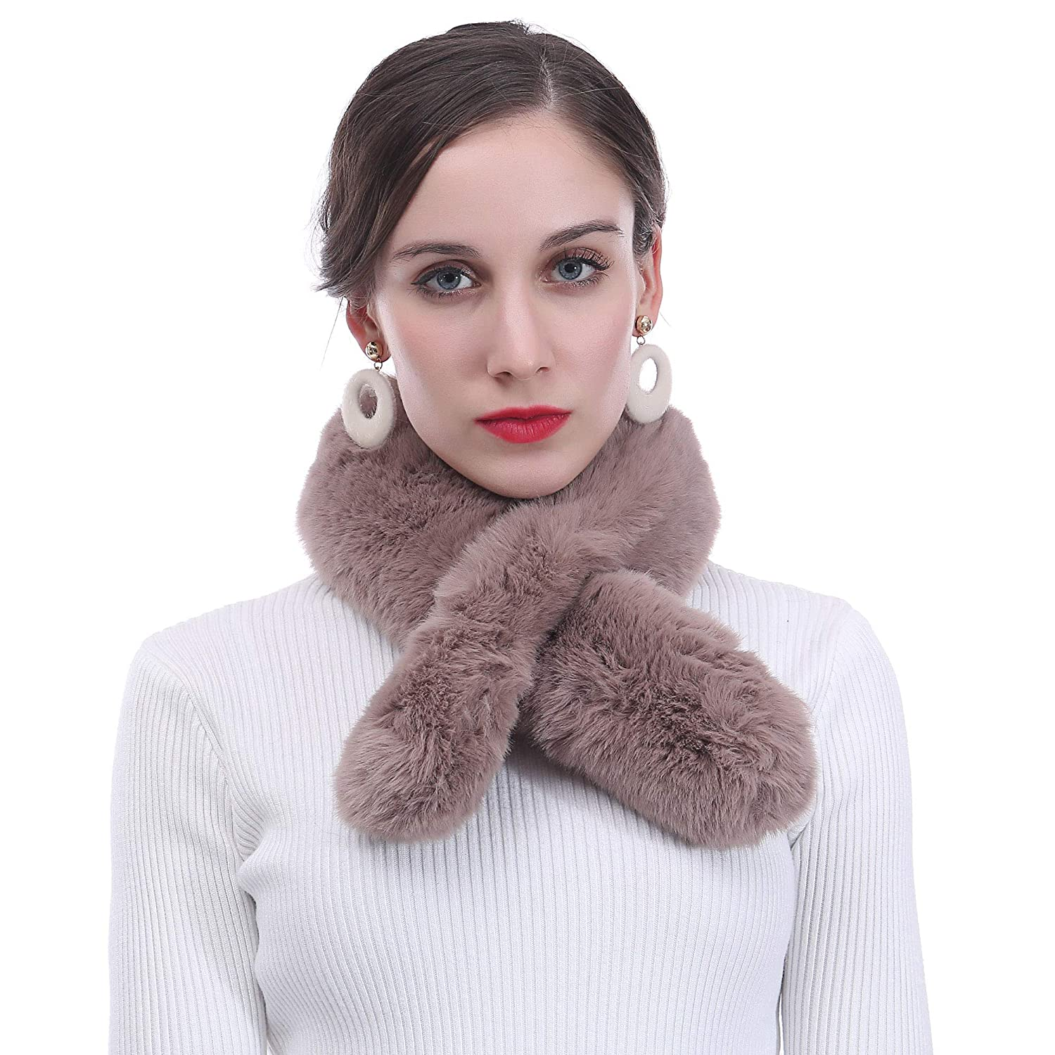 Grey Lina /& Lily Faux Fur Womens Winter Neck Scarf Fluffy