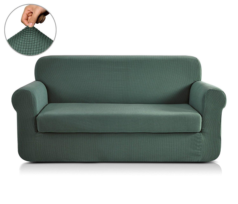 Funda de sofá elástica de CHUN YI, con textura jacquard, de elastano, 2 piezas , Darkcyan, Sofa