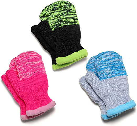 1 Pair Cute Baby Gloves Solid Color Soft Cotton Girls Boys Winter Warm Mittens