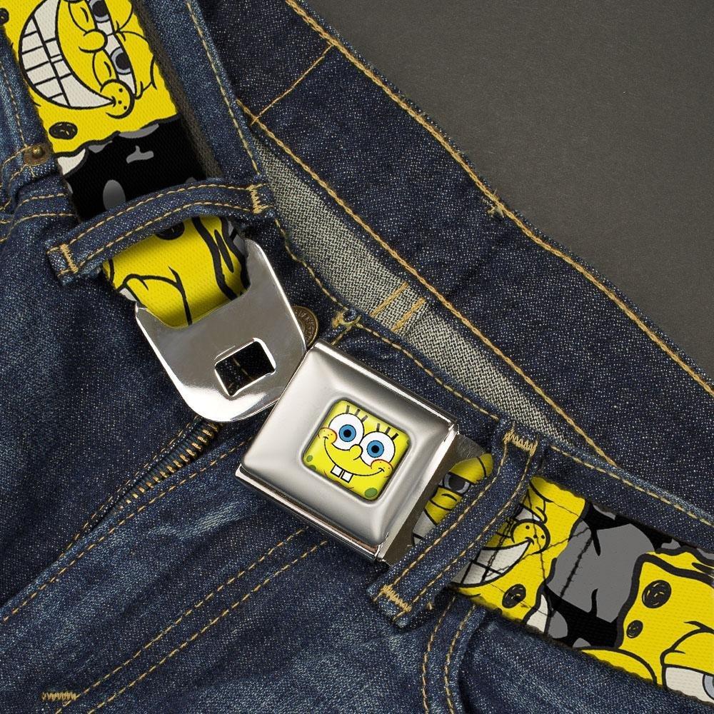 Nickelodeon Mens Buckle-Down Seatbelt Belt Squarepants Kids Spongebob c//Blue Expressions//Crackle Black//Gray//Yellow 1.0 Wide-20-36 Inches