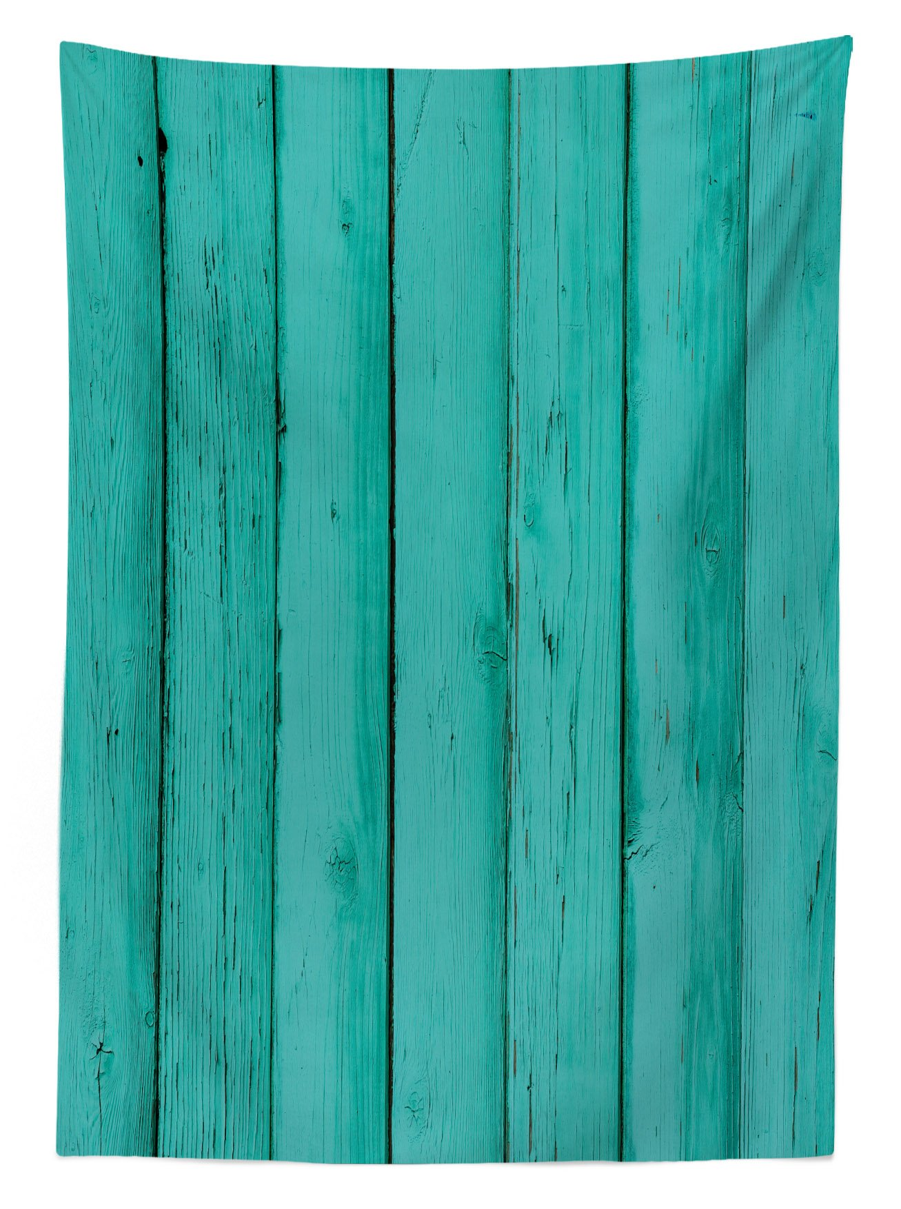 Lunarable Mint Outdoor Tablecloth, Old Wood Rustic Oak Plank Background with Vertical Striped Vivid Woods Farm Barn Image, Decorative Washable Picnic Table Cloth, 58 X 120 inches, Sea Green by Lunarable (Image #2)