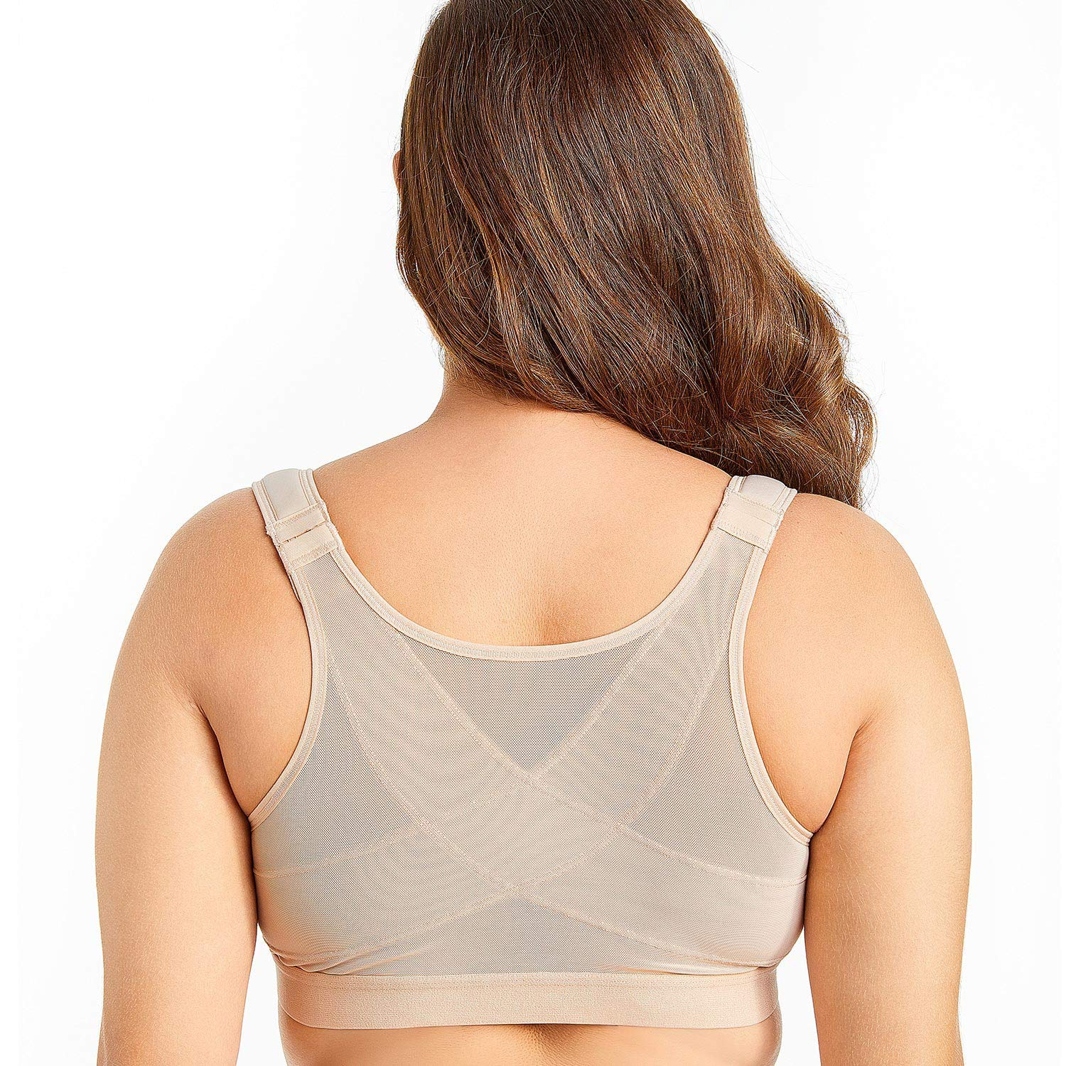 Womens Front Closure Full Coverage Wire Free Support Bra,Mystery Blue06,B,42