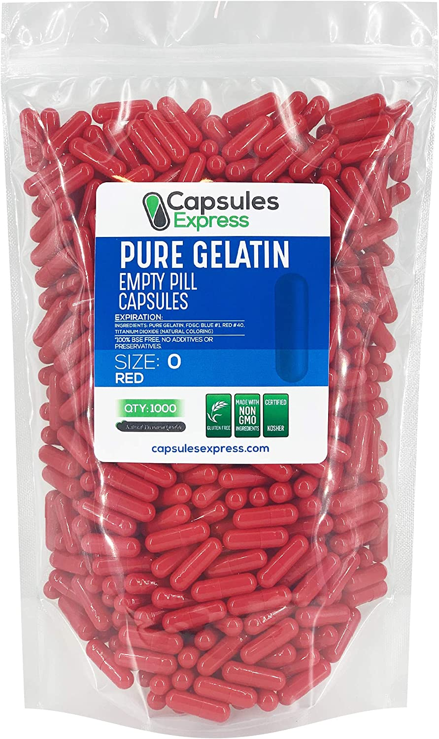 Capsules Express- Size 0 Red Empty Gelatin Capsules 1000 Count - Kosher and Halal - Pure Gelatin Pill Capsule - DIY Powder Filling