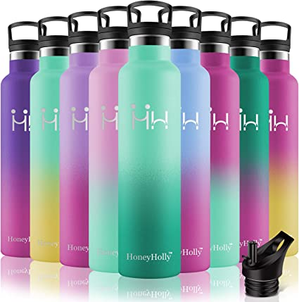 para Ni/ños /& Adultos HoneyHolly Botella de Agua de Acero Inoxidable sin bpa Botellas 600ML dise/ño de Pared Doble Botella Termica con Pajita y Filtro Deporte Oficina
