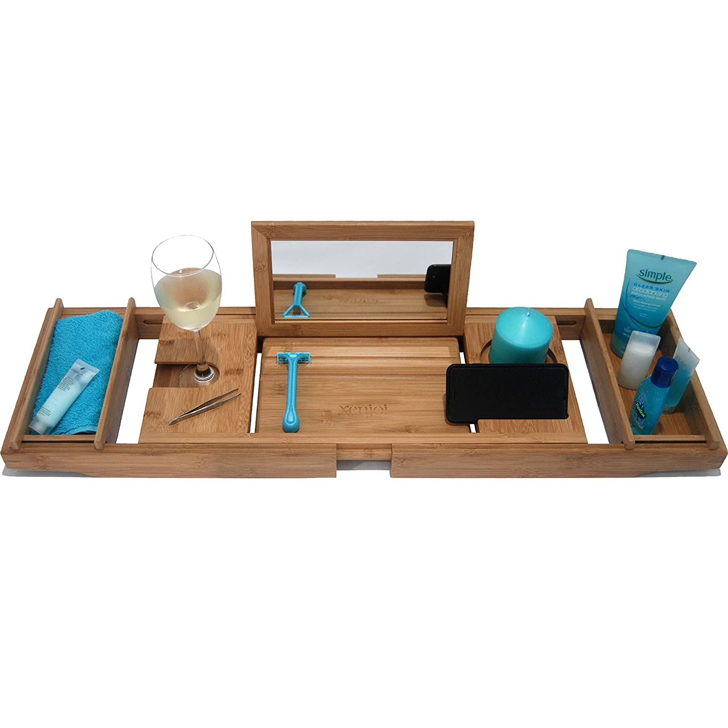 This ONE HAS A Mirror - Our Luxury Bamboo Bathtub Tray/Bathtub Caddy with Mirror Also Comes with Extending Non Slip Sides, Wine Glass Holder, 2 Removable Storage Shelves & Much More xenjoi X-1996