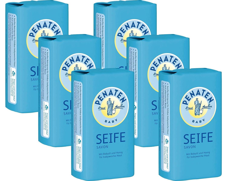 Penaten Seife 100g – Pflegende Seife für babyweiche Haut – Mit Babyöl und Honig (6 x 100g) 87591
