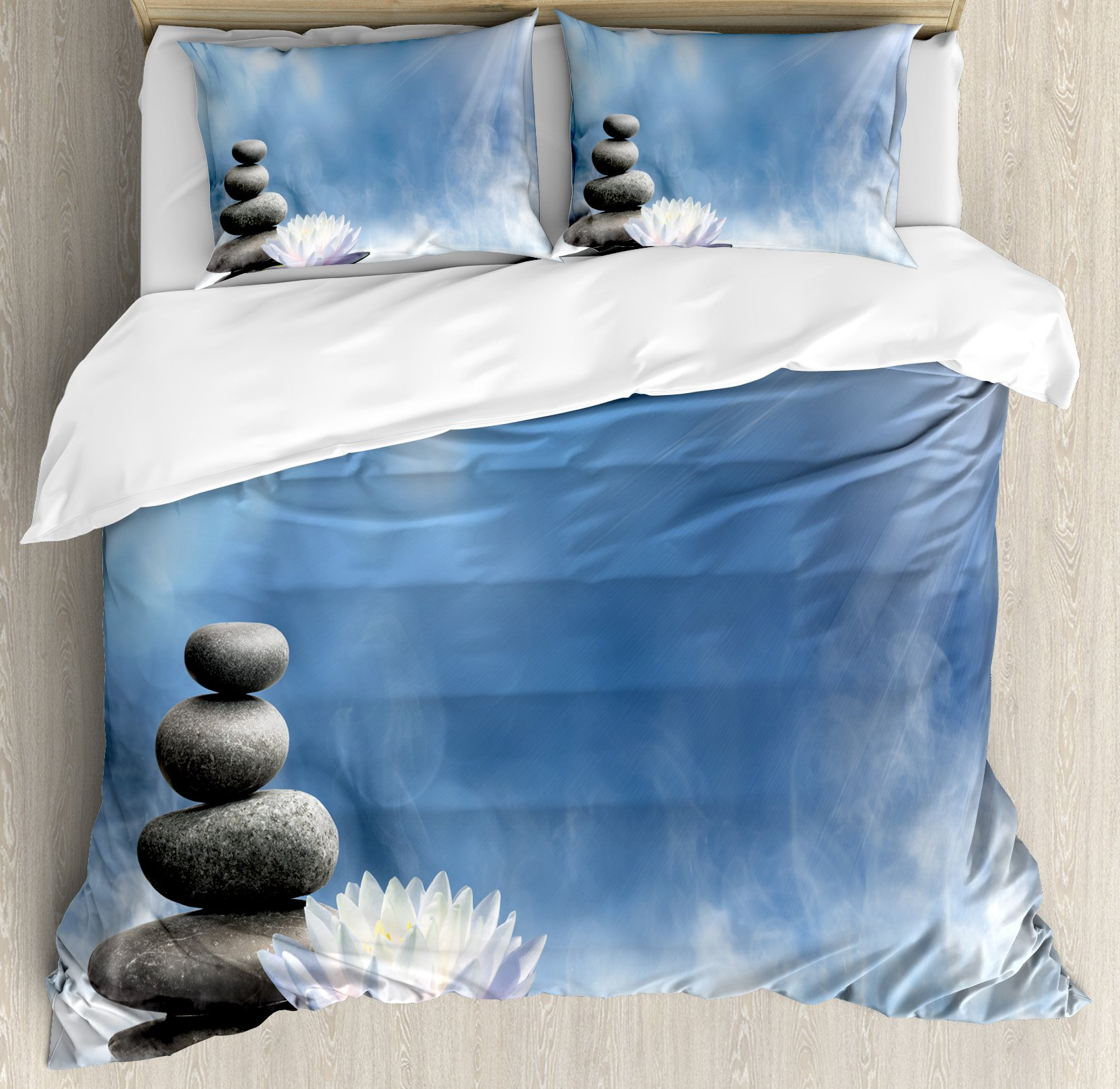 Spa Decor King Size Duvet Cover Set by Ambesonne, Purity of the Zen Massage Magic Lily Stones Sunbeams Spirituality Serenity, Decorative 3 Piece Bedding Set with 2 Pillow Shams