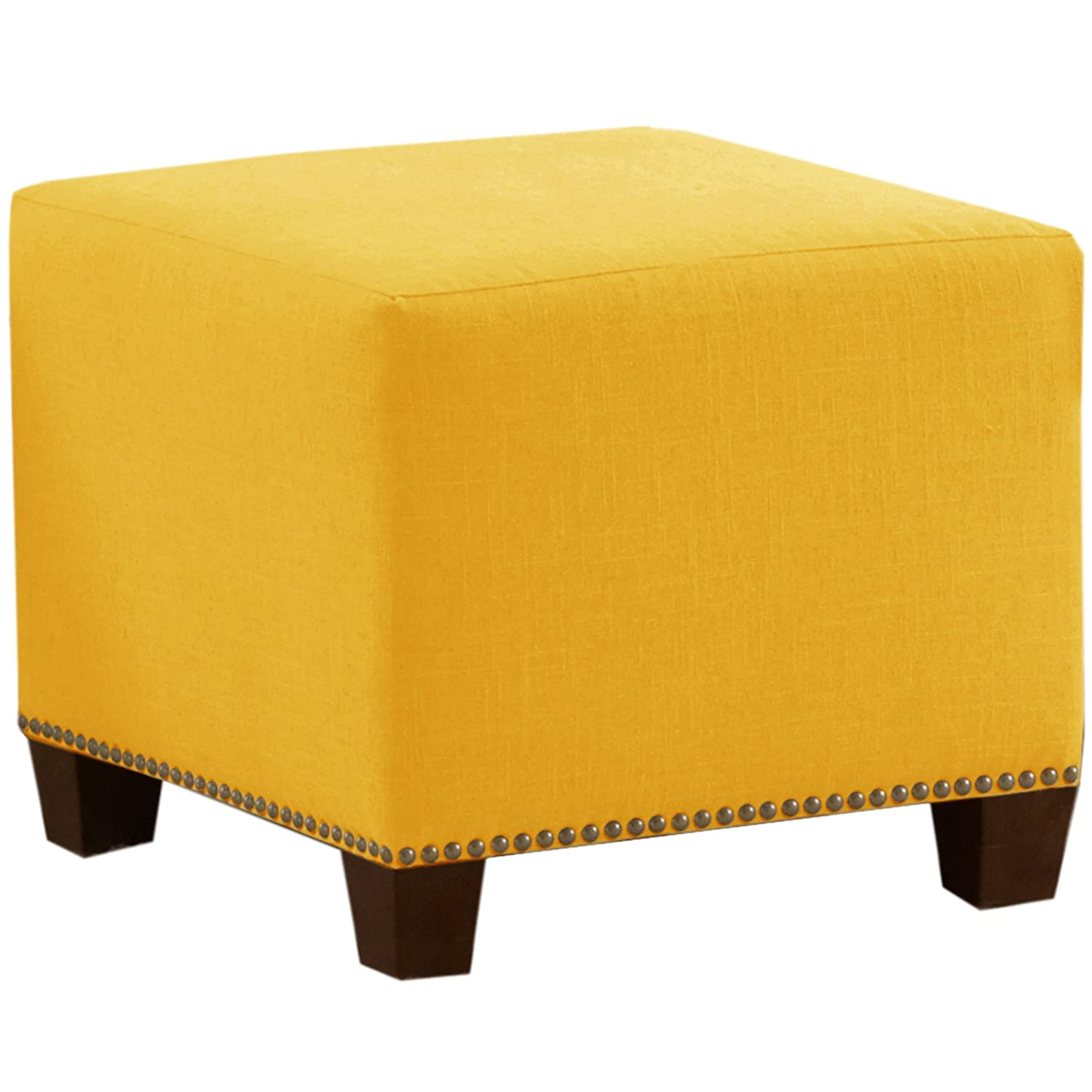 Amazon.com: Skyline Furniture Square Nail Button Ottoman, Linen French  Yellow: Kitchen U0026 Dining