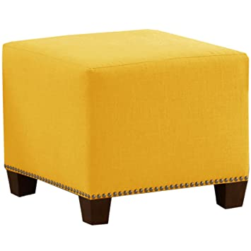 Attrayant Skyline Furniture Square Nail Button Ottoman, Linen French Yellow