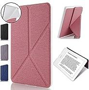 Capa Kindle Paperwhite, WB, Origami, Auto Hibernação, Sensor Magnético, Silicone Flexível, Estilo Tecido, Rosa