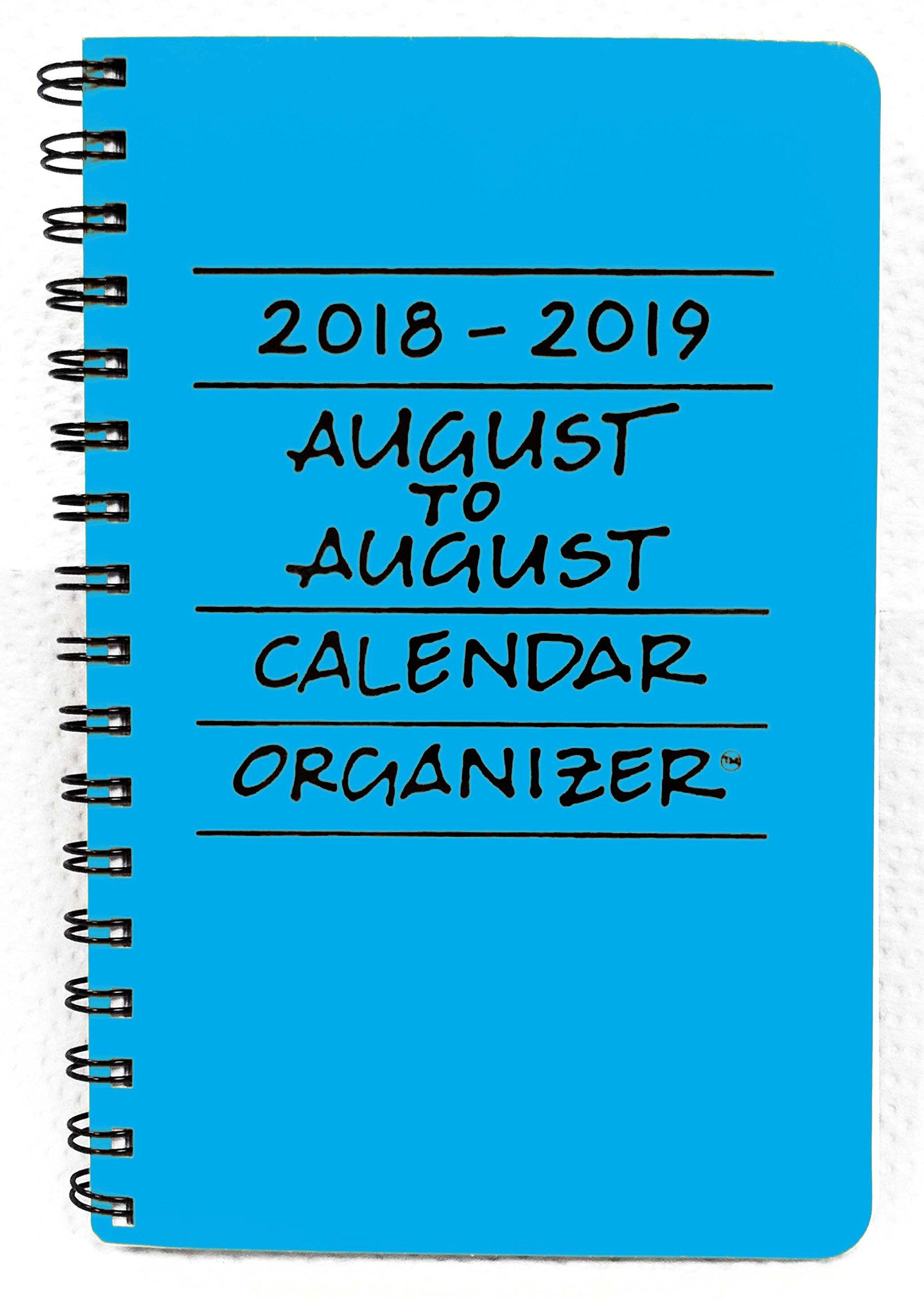 2018-2019 August to August Calendar Organizer- Azure