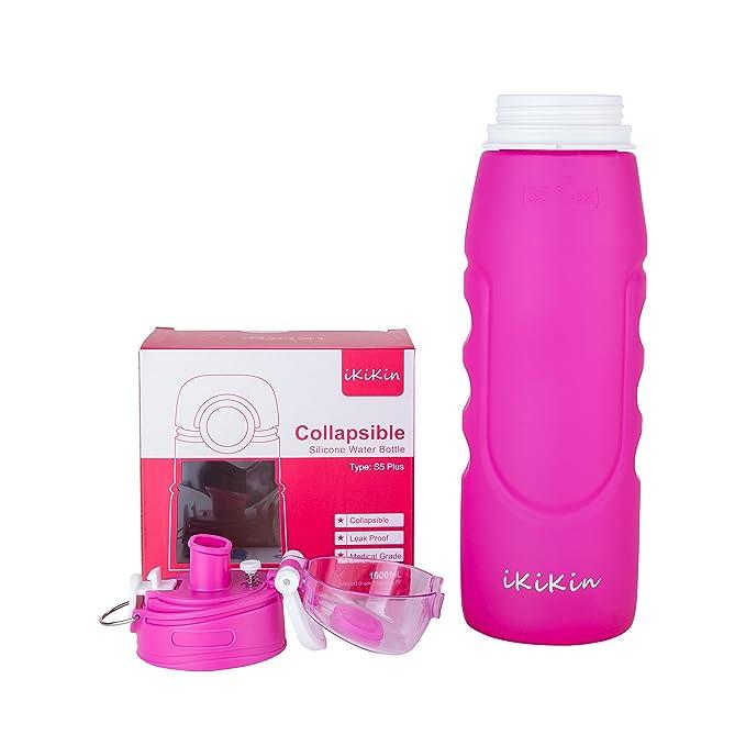 Ikikin plegable prueba de fugas BPA Free Sports botella de agua, (1000 ml 1 L 35 oz rosa): Amazon.es: Deportes y aire libre