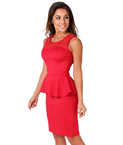 KRISP Womens Party Club Cocktail Lace Frill Peplum Sleeveless Bodycon Dress Plus Size