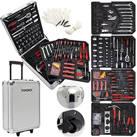 Masko® 949 Werkzeugkoffer Werkzeugkasten Werkzeugkiste Werkzeug Trolley ? Profi ? 949 Teile ? Qualitätswerkzeug ? Silber