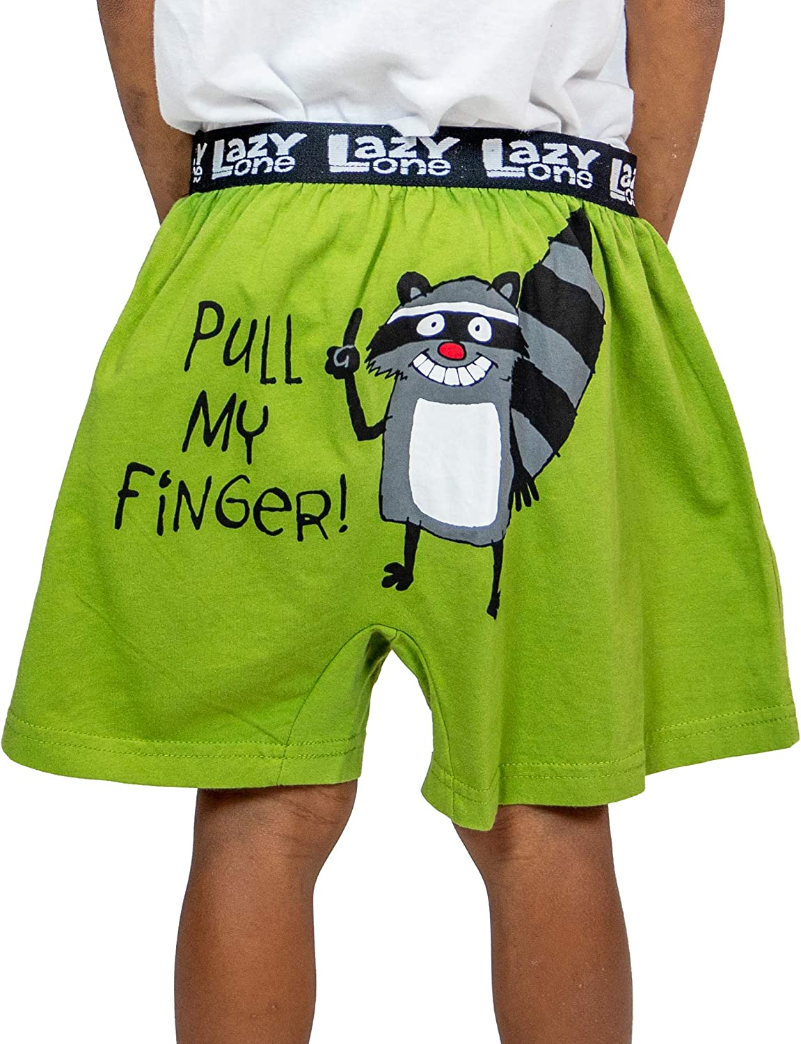 Small Pull My Finger Boys Funny Animal Boxers by LazyOne Kids Comical Underwear