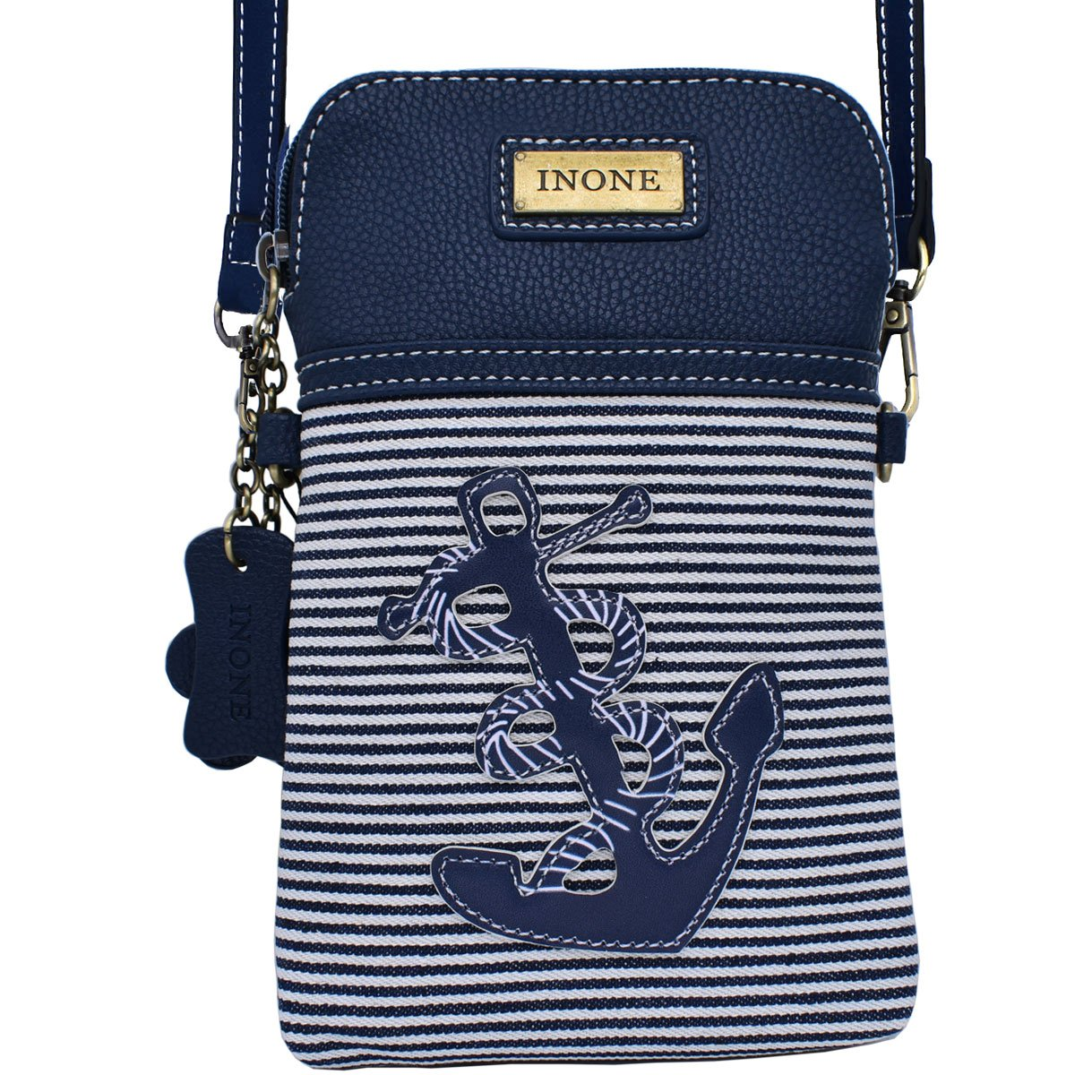 Anchor Crossbody Bag Nautical iPhone Cell Phone Purse Bag PU Leather Canvas Handbag for Smartphone Credit Card Passport Keys by inOne (Image #2)