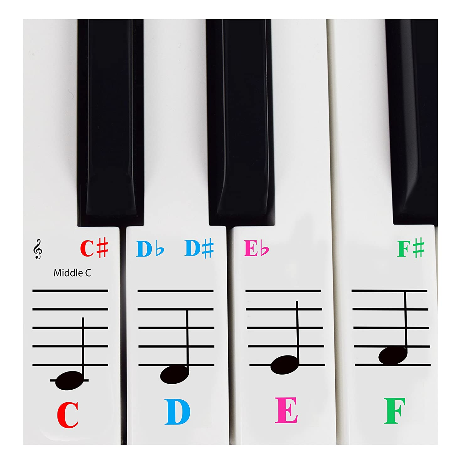 Amazon piano keyboard piano sticker for 61 key keyboards transparent and removable with free piano ebook fandeluxe Choice Image