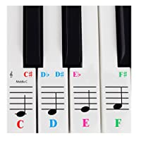 Piano Sticker for 61 Key Keyboards - Transparent and Removable with Free Piano Ebook
