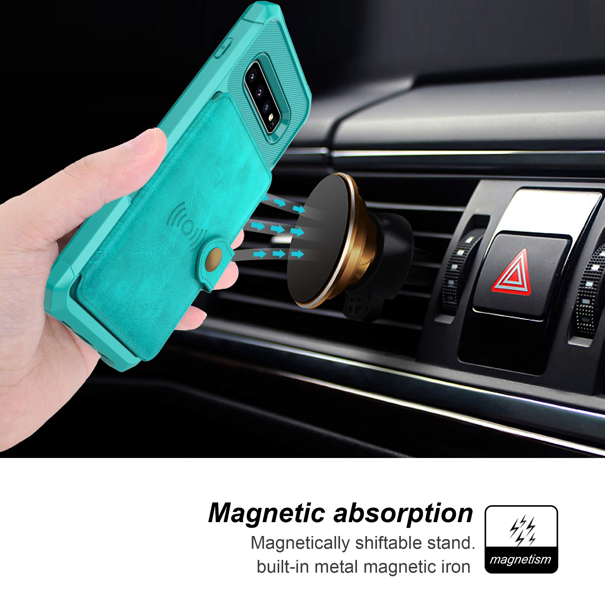 Samsung Galaxy S10 Case, Sumsung S10 Wallet Flip Leather Kickstand Fit Magnetic Car Mount Wireless Charging Slim Durable Shockproof Protective Case Cover with Card Holder (Turquoise)