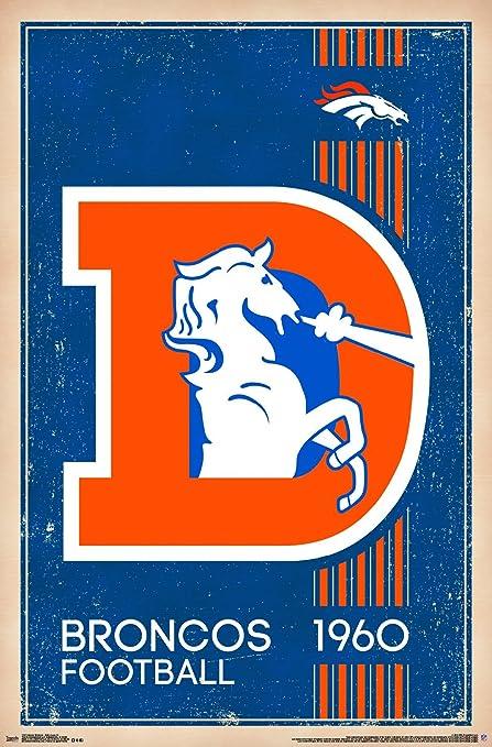online retailer dbca6 e04e9 Trends International Denver Broncos - Retro Logo Premium Wall Poster  22.375