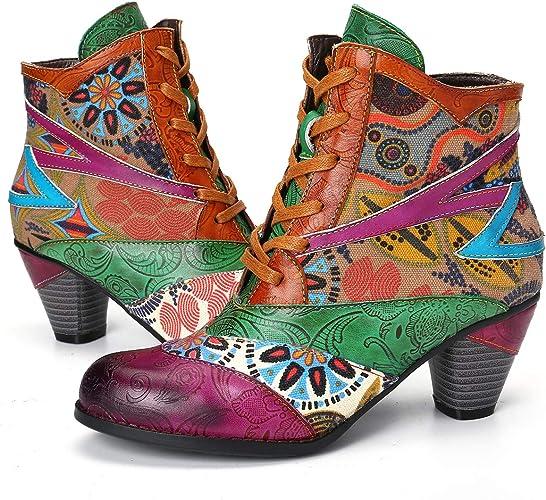gracosy Bottines Cuir Femmes, Boots Santiags Chaussures de Ville Hiver à  Talons Hauts Sexy Confortable Bottes Habillees Soirée Originales Colorée  pour