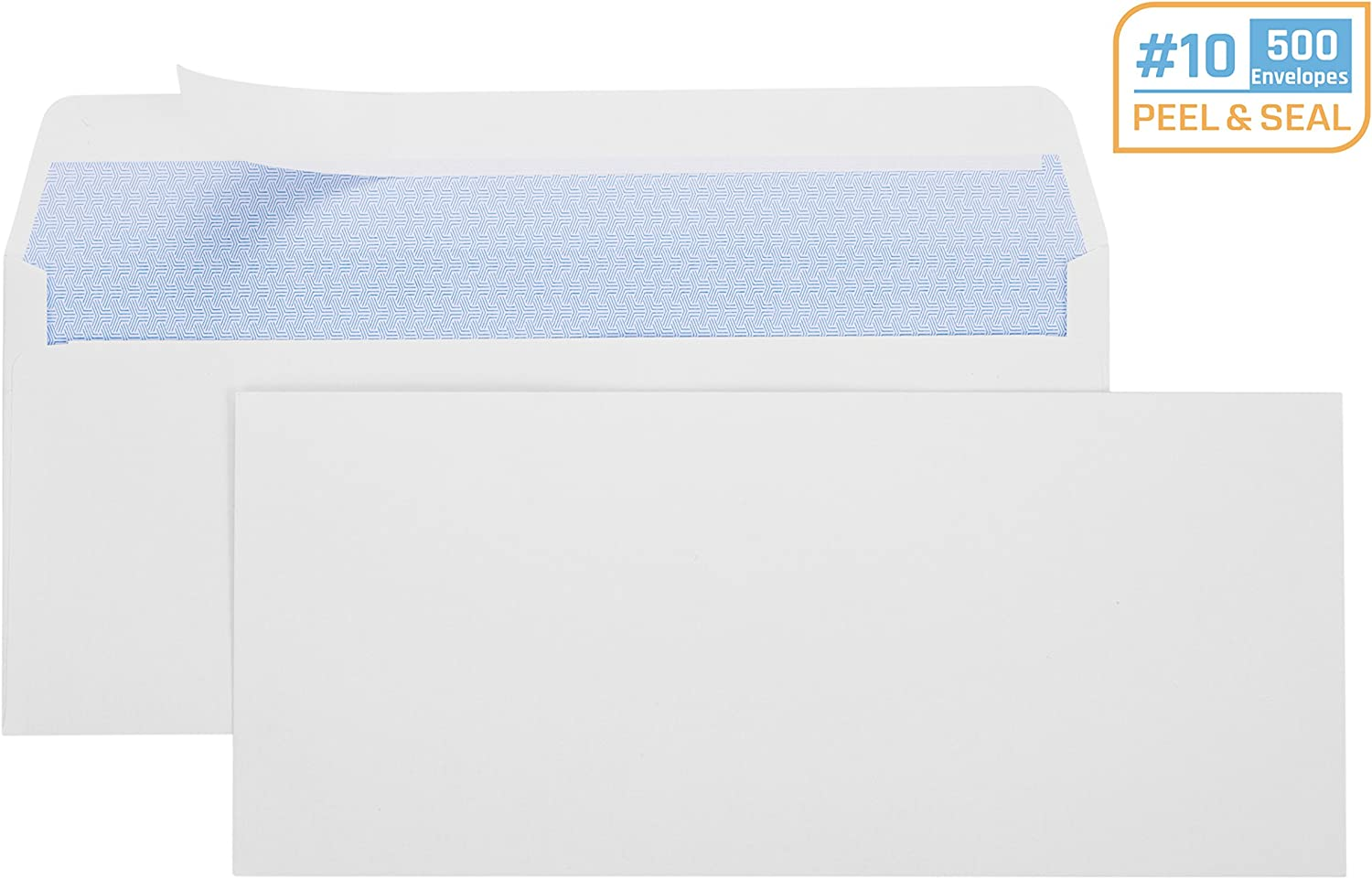 Office Deed 500#10 Envelopes SELF SEAL Business Envelope Windowless Design, Security Tint Pattern for Secure Mailing, Invoices, Statements & Legal Document, 4-1/8 x 9-1/2 Inches : Office Products