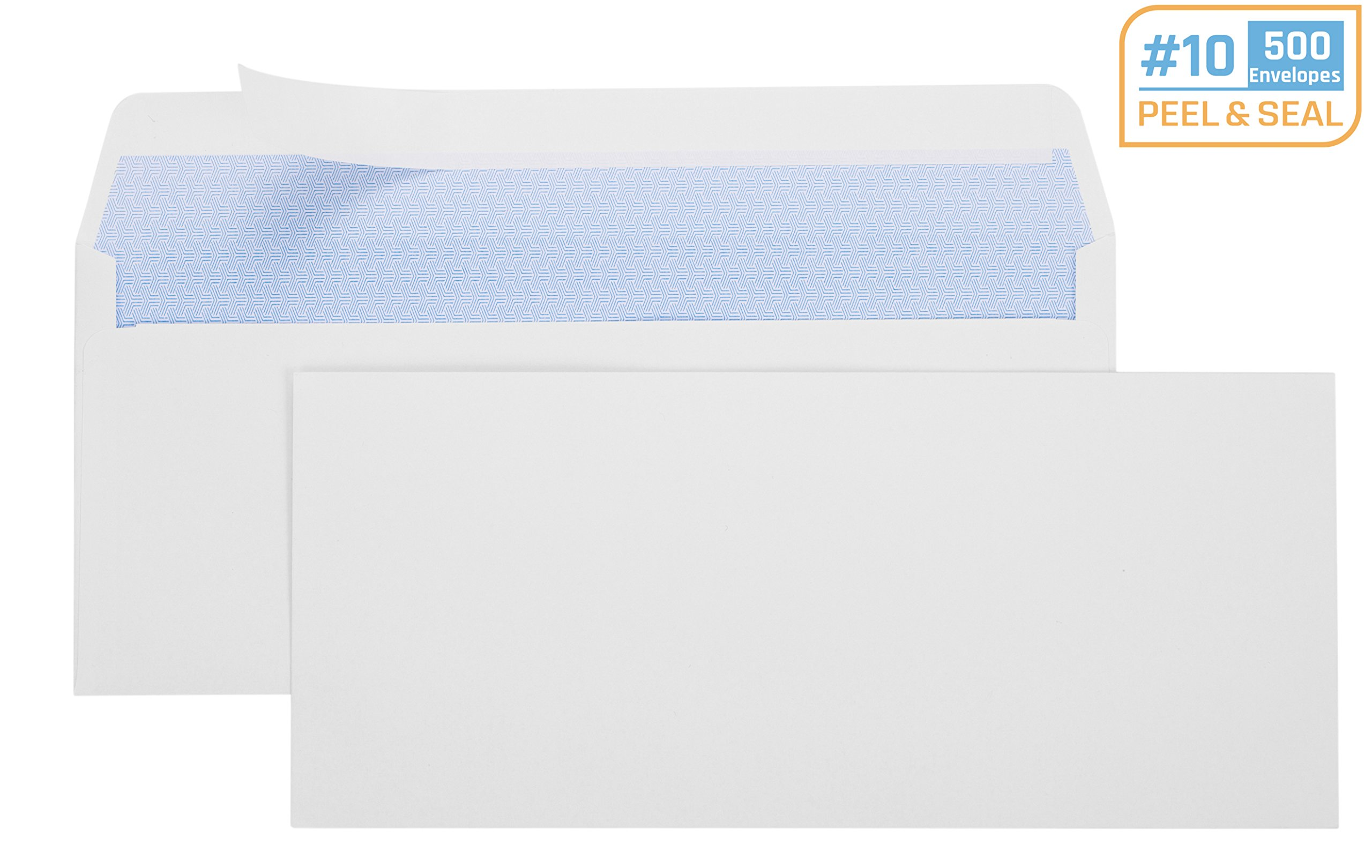 Office Deed 500 #10 Envelopes SELF SEAL Business Envelope Windowless Design, Security Tint Pattern for Secure Mailing, Invoices, Statements & Legal Document, 4-1/8 x 9-1/2 Inches