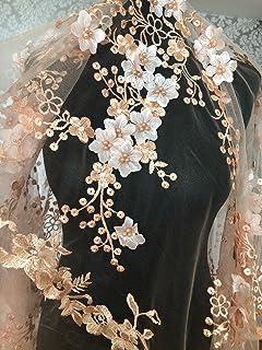 Encaje floral nupcial/vestido de novia FN3D, flores bordadas con cuentas, y adornos